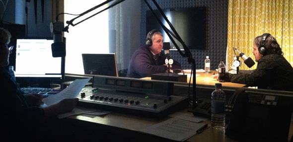 Former U.S. Senate Candidate Andrew Ian Dodge (right) in the studio with TideSmart Talk host Steve Woods (left).