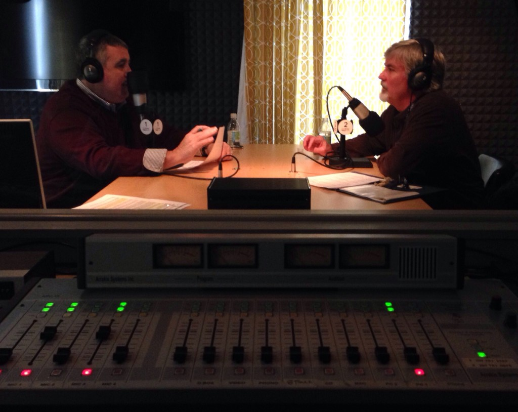 Steve Woods (left) host of TideSmart Talk with Stevoe was joined recently by the Executive Director of Preble Street Mark Swann (right).