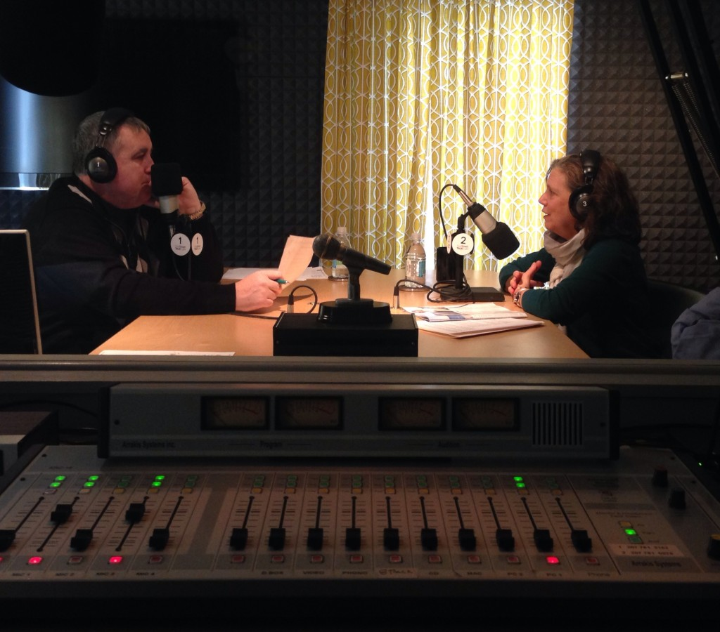 Steve Woods (left) host of TideSmart Talk with Stevoe was joined in the studio by the President of Maine Media Workshops & College Meg Weston (right).