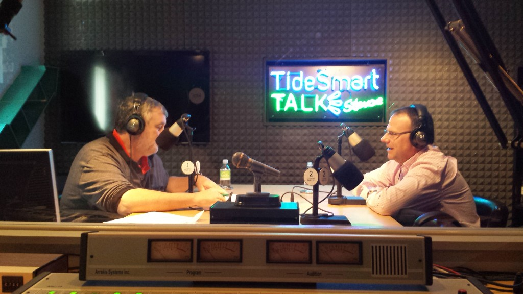 Host of TideSmart Talk with Stevoe, Steve Woods, recently welcomed Owner of the Maine Red Claws Bill Ryan (right).