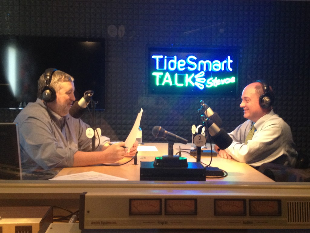 Host of TideSmart Talk with Stevoe, Steve Woods, sits with President & CEO of Camden National Bank, Greg Dufour (at right).