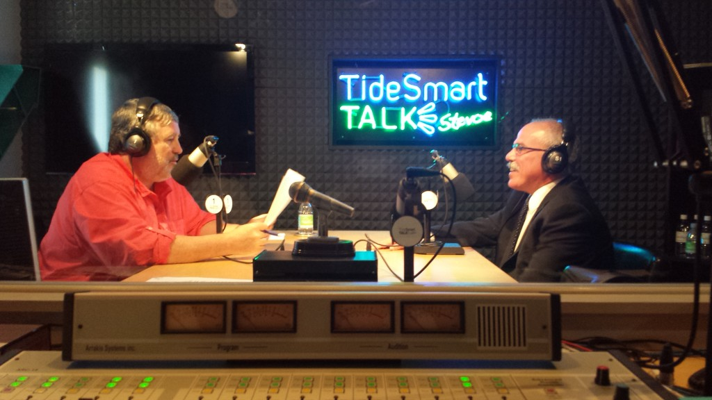 Host of TideSmart Talk with Stevoe, Steve Woods, welcomed President & CEO of Maine Innkeepers and Maine Restaurant Associations, Greg Dugal (at right).