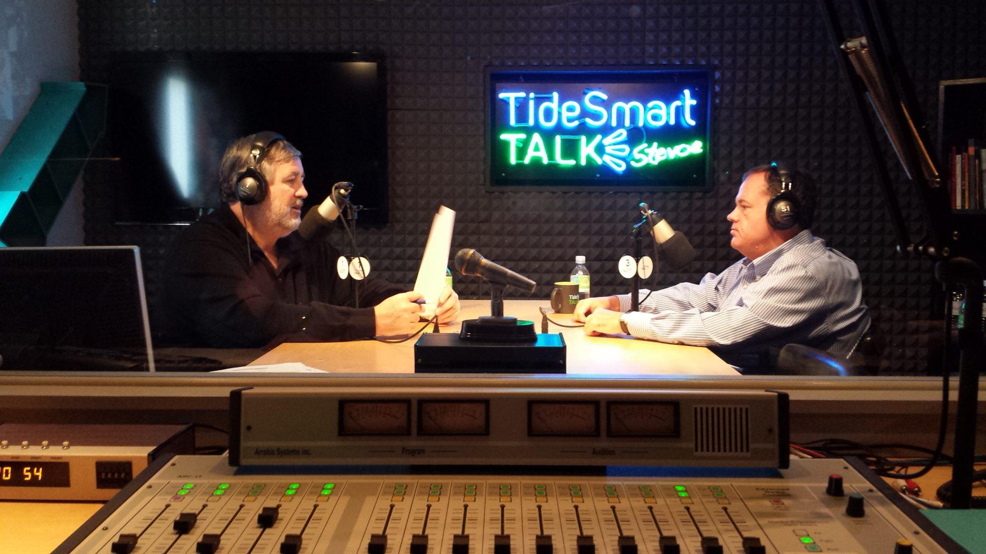 Host of TideSmart Talk with Stevoe, Steve Woods, welcomed Portland City Manager, Jon Jennings (at right).