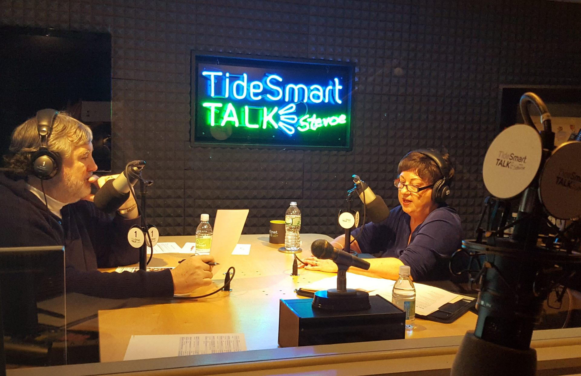 Host of TideSmart Talk with Stevoe, Steve Woods, welcomed CEO of Girl Scouts of Maine, Joanne Crepeau (at right).