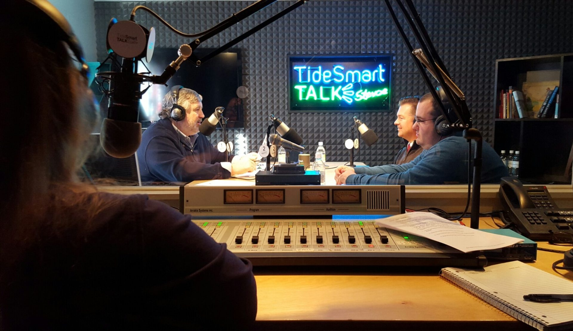 Host of TideSmart Talk with Stevoe, Steve Woods, welcomed Scout Executive, Eric Tarbox and Communications Director, Tucker Adams (at right).