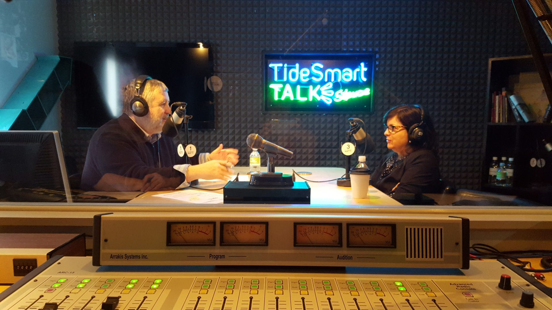 Host of TideSmart Talk with Stevoe, Steve Woods, welcomed CEO of MaineToday Media, Lisa DeSisto (at right).