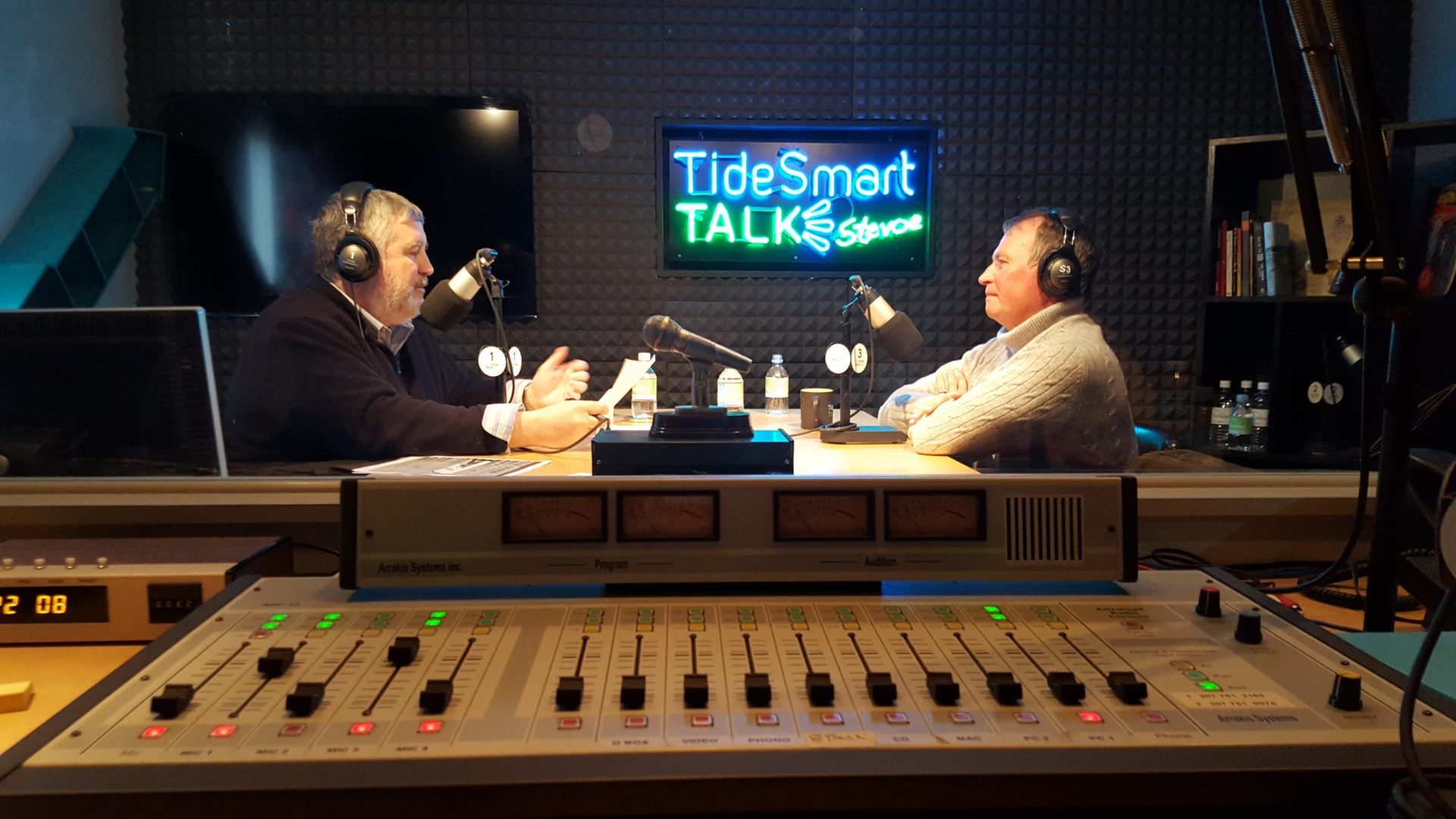 Host of TideSmart Talk with Stevoe, Steve Woods, welcomed Author, Paul Doiron (at right).