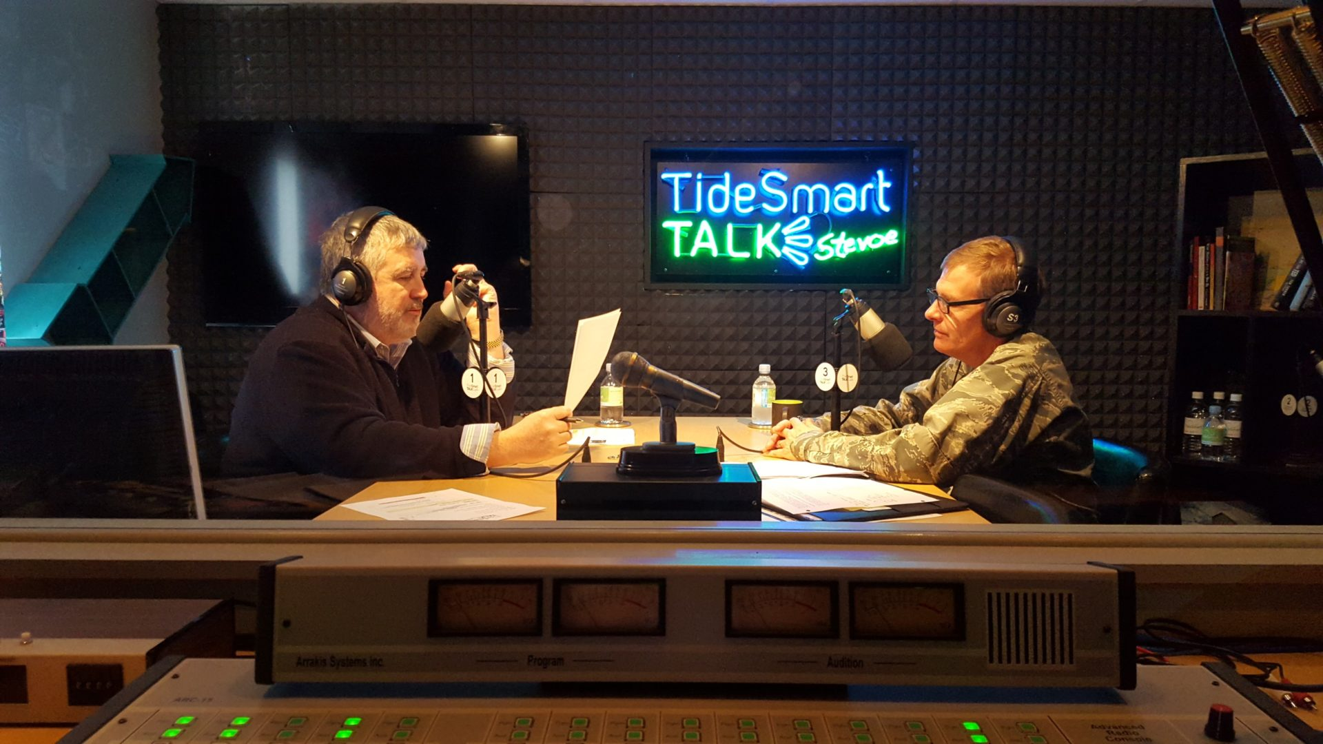 Host of TideSmart Talk with Stevoe, Steve Woods, welcomed Brigadier General Doug Farnham (at right).