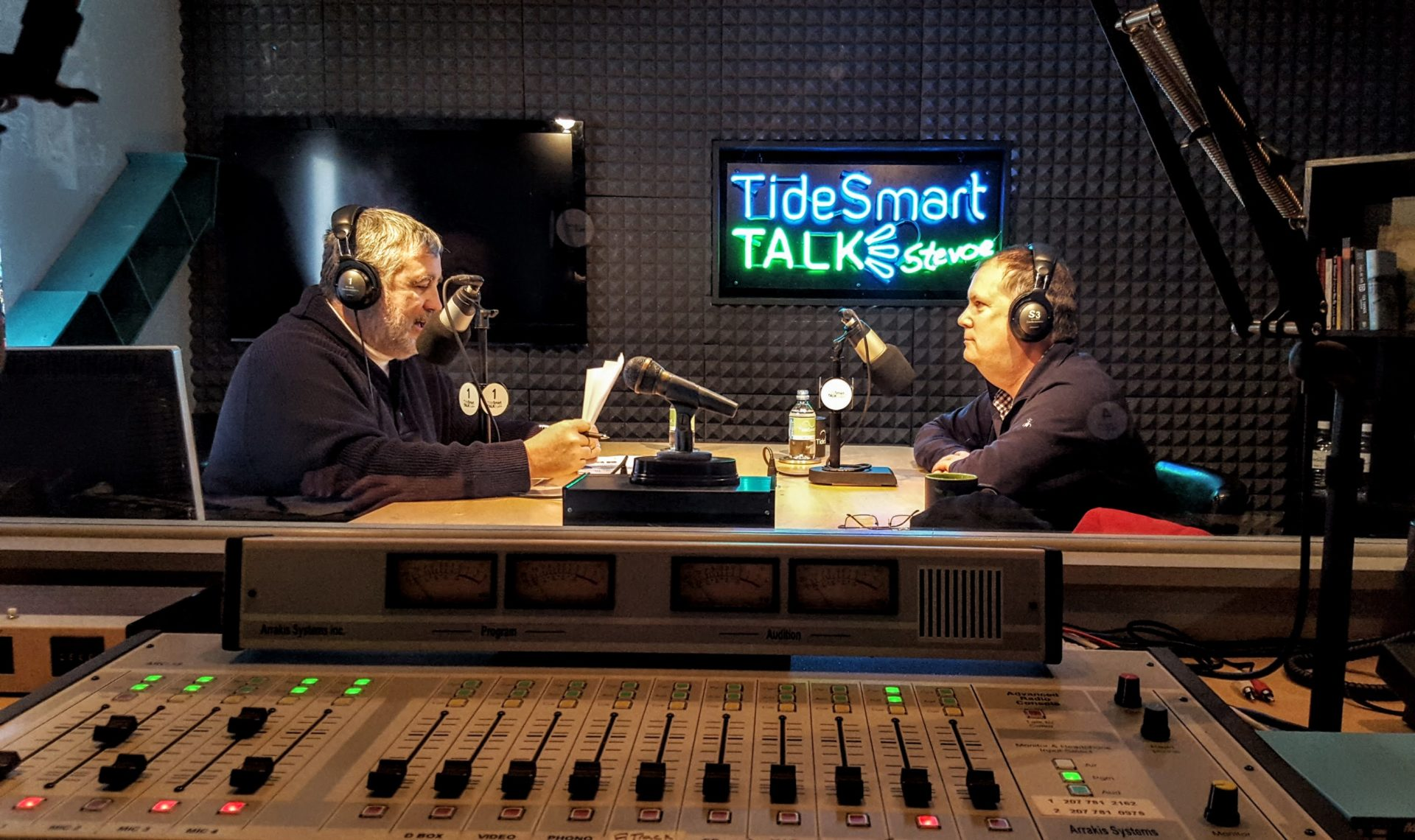 Host of TideSmart Talk with Stevoe, Steve Woods, welcomed author of Appalachian Odyssey, Jeff Ryan (at right).