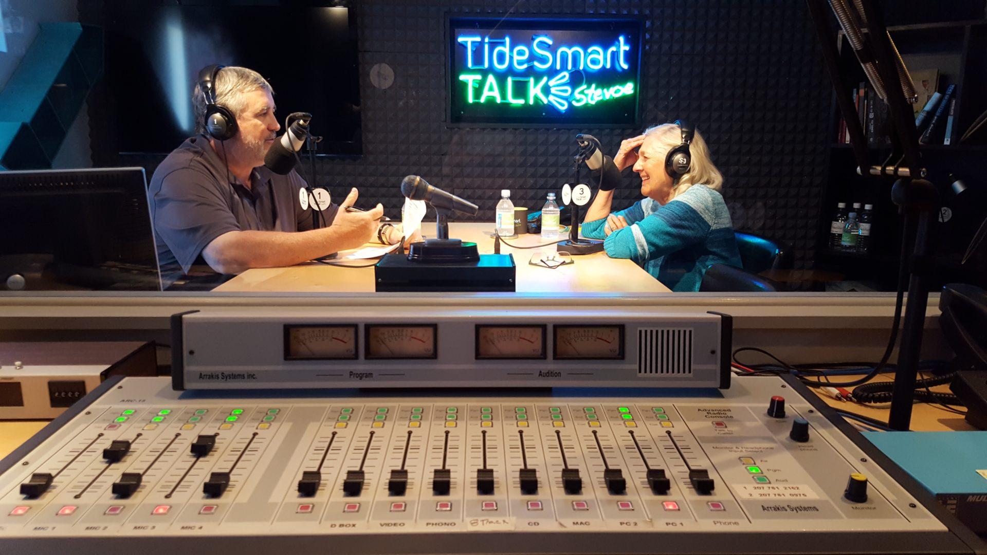 Host of TideSmart Talk with Stevoe, Steve Woods, welcomed Ellen Goodman (at right).
