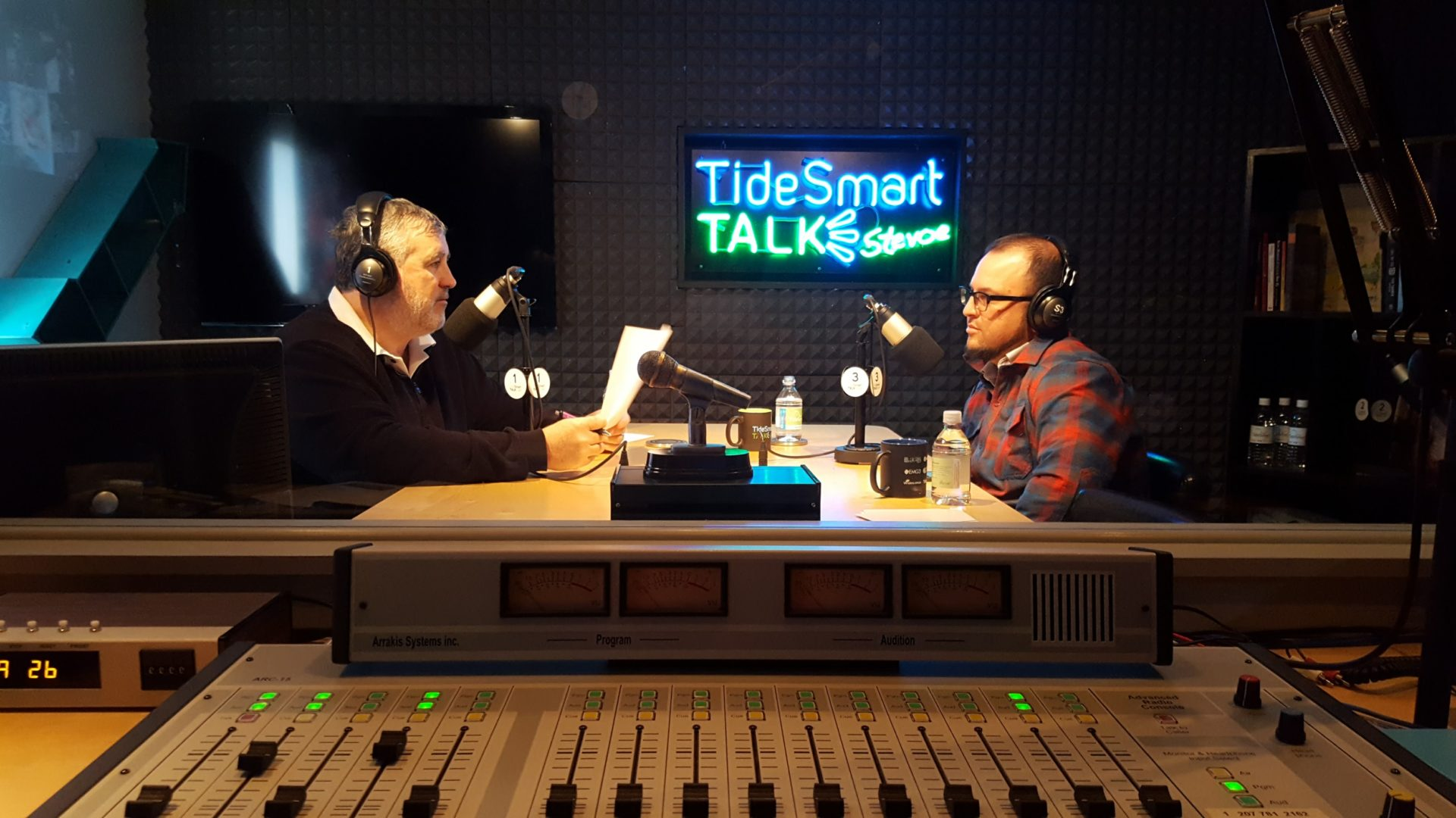 Host of TideSmart Talk with Stevoe, Steve Woods, welcomed Producer of TEDxDirigo, Adam Burk (at right).