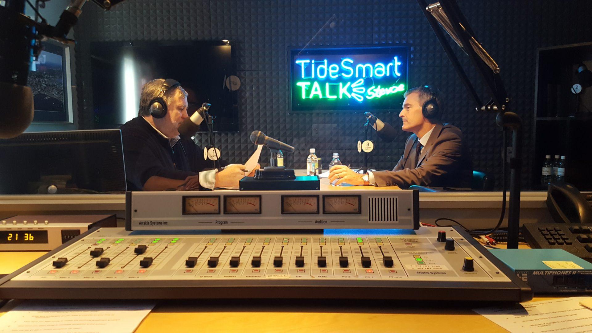 Host of TideSmart Talk with Stevoe, Steve Woods, welcomed President of the University of Southern Maine, Dr. Glenn Cummings  (at right).