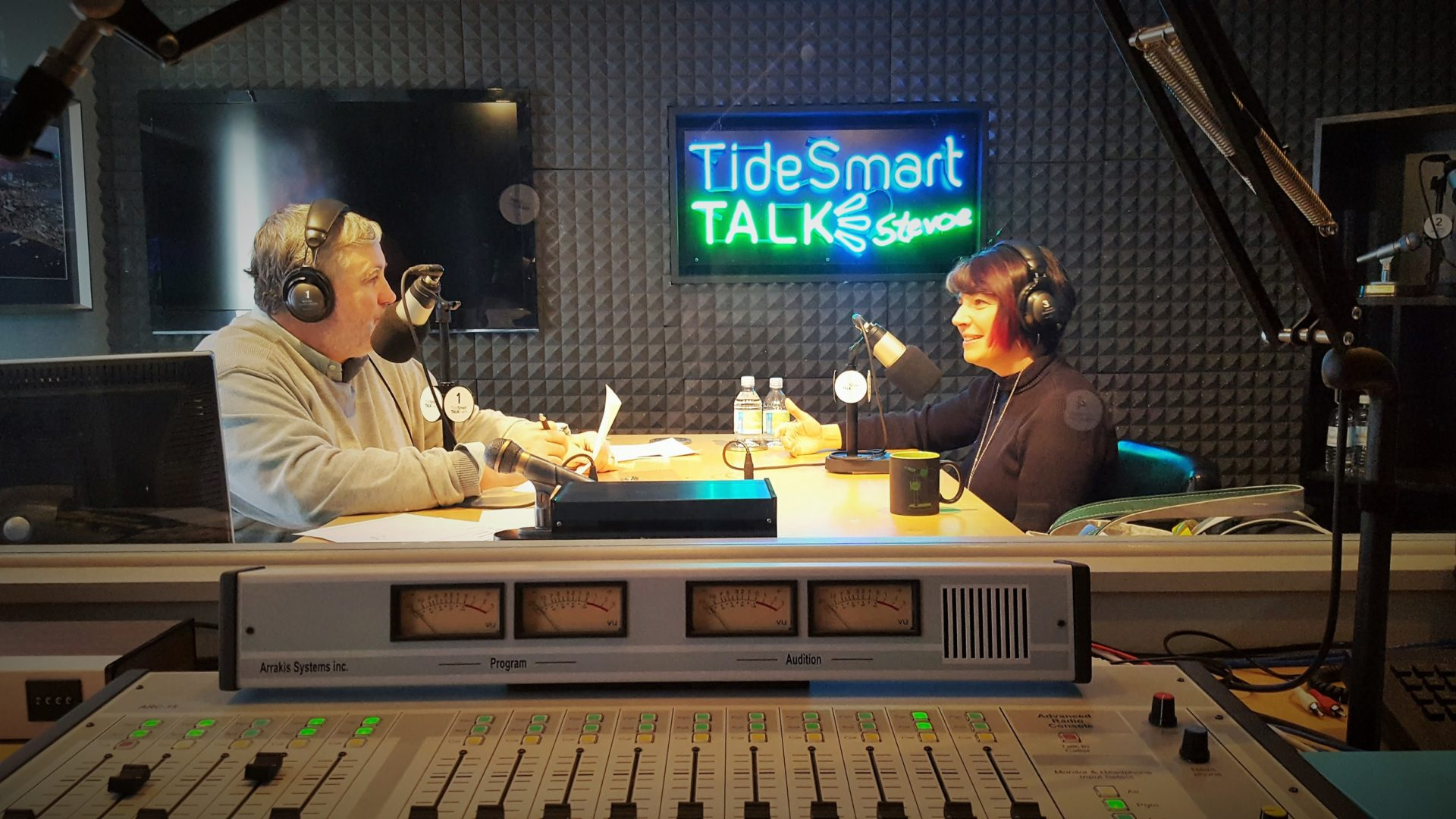 Host of TideSmart Talk with Stevoe, Steve Woods, welcomed Dr. Aileen Yingst, Senior Scientist with the Planetary Science Institute (at right).
